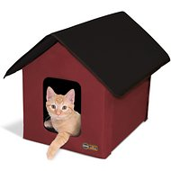 K&H Pet Products Outdoor Unheated Kitty House, Red/Black