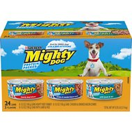 Mighty Dog Hearty Beef Dinner, Chicken & Smoked Bacon Combo & Lamb & Rice Variety Pack Canned Dog Food, 5.5-oz, case of 24