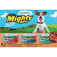 Mighty Dog Hearty Beef Dinner, Chicken & Smoked Bacon Combo & Lamb & Rice Variety Pack Canned Dog Food, 5.5-oz, case of 12