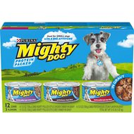 Mighty Dog Hearty Pulled-Style in Gravy Variety Pack Canned Dog Food, 5.5-oz, case of 12