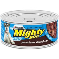 Mighty Dog Porterhouse Steak Flavor in Gravy Canned Dog Food, 5.5-oz, case of 24
