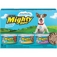 Mighty Dog Savory Steak Flavor, Rotisserie Chicken Flavor & Chicken, Egg & Bacon Country Platter Variety Pack Canned Dog Food, 5.5-oz, case of 12