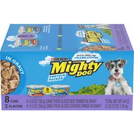 Mighty Dog Thick-Sliced Beef in Gravy & Thick-Sliced Chicken in Gravy Dinner Variety Pack Canned Dog Food, 5.5-oz, case of 8