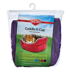 Kaytee Cuddle-E-Cup Plush Small Animal Bed, 10-in; Kaytee Cuddle-E-Cup Plush Small Animal Bed provides a comfortable place for your little critter to cuddle up in. It features an ultra-soft, padded faux fur interior for the highest level of comfort. The outer portion is made of durable polyester material that's made to last. And it's even machine washable for easy cleanup. Included straps are strong and secure the bed into position anywhere in your pet's cage.
