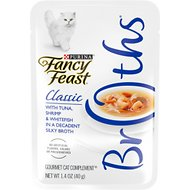 Fancy Feast Classic Broths with Tuna, Shrimp & Whitefish Supplemental Cat Food Pouches, 1.4-oz pouch, case of 16