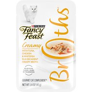 Fancy Feast Creamy Broths with Tuna, Chicken & Whitefish Supplemental Cat Food Pouches, 1.4-oz, case of 16