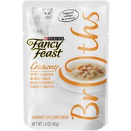 Fancy Feast Creamy Broths with Chicken & Vegetables Supplemental Wet Cat Food Pouches, 1.4-oz, case of 16