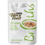 Fancy Feast Creamy Broths with Tuna & Vegetables Supplemental Cat Food Pouches, 1.4-oz pouch, case of 16