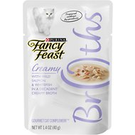 Fancy Feast Creamy Broths with Wild Salmon & Whitefish Supplemental Wet Cat Food Pouches, 1.4-oz pouch, case of 16