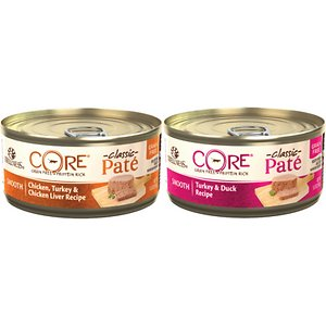 Wellness CORE Grain-Free Poultry Pleasers Variety Pack Canned Cat Food, 5.5-oz, case of 30; Wellness CORE Grain-Free Poultry Pleasers Variety Pack Canned Cat Food brings together your cat's favorite feathered flavors, with 30 5.5-oz cans of these cat pleasers: Turkey & Duck (15) and Chicken, Turkey & Chicken Liver (15). These recipes are 100% grain-free and protein-focused, with delicious poultry protein, plus delectable vegetables that contain essential vitamins and minerals. Made with all real ingredients, these recipes have no wheat, corn, soy, meat by-products, or artificial colors, flavors or preservatives. Just deliciously nutritious ingredients that leave cats purring for more.