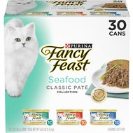 Fancy Feast Classic Seafood Feast Variety Pack Canned Cat Food, 3-oz, case of 30