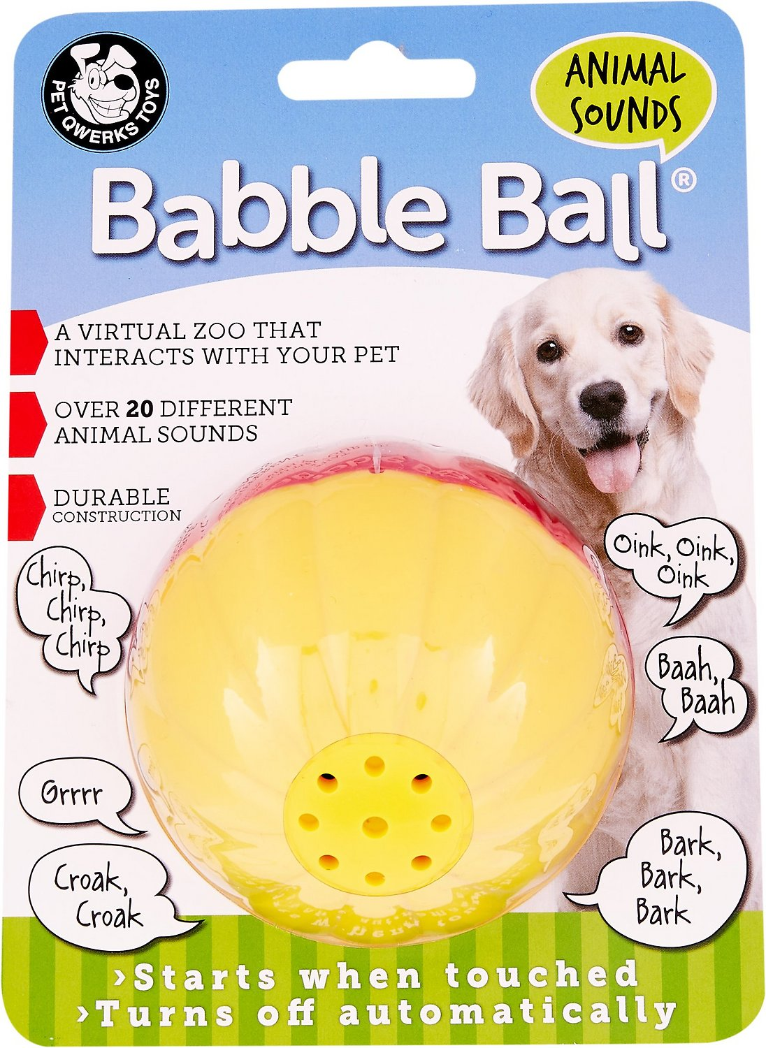 Dog Toys Balls : Pet qwerks animal babble ball dog toy color varies large