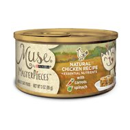Purina Muse MasterPieces Natural Canned Cat Food, Chicken Recipe with Carrots & Spinach, 3-oz, case of 24