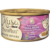 Purina Muse MasterPieces Natural Canned Cat Food, Quail Recipe with Carrots & Spinach, 3-oz, case of 24