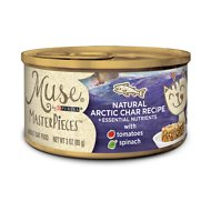 Purina Muse MasterPieces Natural Canned Cat Food, Arctic Char Recipe with Tomatoes & Spinach, 3-oz, case of 24