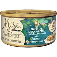 Purina Muse MasterPieces Natural Canned Cat Food, Duck Recipe with Spinach & Sweet Potato, 3-oz, case of 24