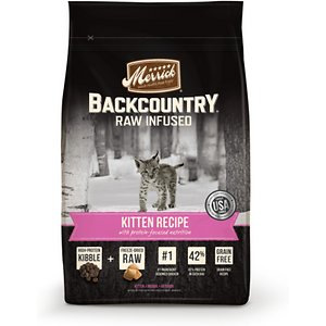 Merrick Backcountry Raw Infused Kitten Recipe Grain-Free Dry Cat Food, 3-lb bag; Bring some ancestral-inspired nutrition to your growing carnivore's bowl with the Merrick Backcountry Raw Infused Kitten Recipe Grain-Free Dry Cat Food. Not your average kibble, the grain-free recipe starts with chicken and turkey, and is infused with freeze-dried raw meat bites packed with the whisker-licking flavor and protein of poultry. It provides the nutritional benefits of a raw diet for your kitten, straight out of the bag!  Every bite is loaded with everything your kitty needs to fuel all those adventures and growth spurts, like vitamins, minerals and taurine, omegas for a healthy skin and coat, probiotics for easy digestion and antioxidant-rich veggies. Plus, there's zero by-products, additives, gluten or anything artificial so even sensitive kitties can dive right into their bowl!