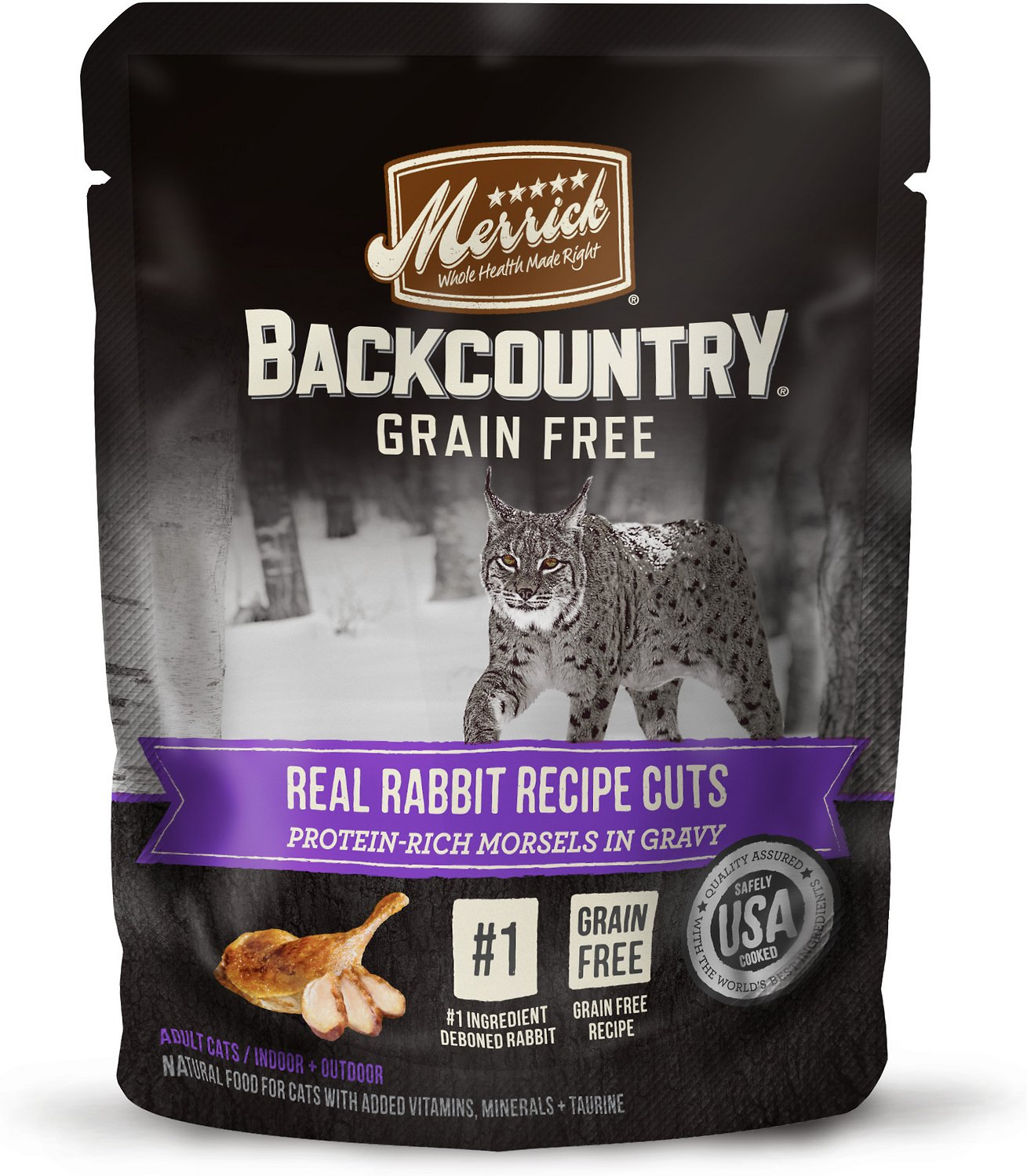 Merrick Backcountry Grain-Free Morsels in Gravy Real Rabbit Recipe Cuts Cat Food Pouches, 3-oz ...