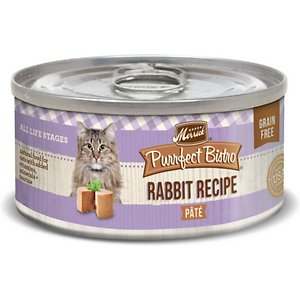 Merrick Purrfect Bistro Rabbit Pate Grain-Free Canned Cat Food, 3-oz, case of 24; Serve up some bistro-inspired yumminess for your pal with the Merrick Purrfect Bistro Rabbit Pate Grain-Free Canned Cat Food. It's packed with high-protein, tender rabbit as the first ingredient, mixed with tasty organic alfalfa and cranberries, and cooked in whisker-licking, hydrating gravy. Loaded with antioxidants to support immunity, omegas for a healthy skin and coat, plus vitamins, minerals and taurine in every bite, it's sure to fuel all your kitty's adventures, and then yum! Plus, it has zero grains, artificial colors, flavors or preservatives so you can let kitty dive right into his bowl.