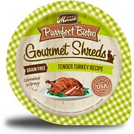Merrick Purrfect Bistro Gourmet Shreds in Gravy Grain-Free Tender Turkey Recipe Cat Food Trays, 3.5-oz, case of 12