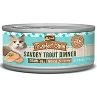 Merrick Purrfect Bistro Grain-Free Morsels in Gravy Savory Trout Dinner Canned Cat Food, 3-oz, case of 24