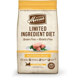 Merrick Limited Ingredient Diet Grain-Free Real Chicken Recipe Dry Cat Food, 12-lb bag; Nourish your adult cat with Merrick Limited Ingredient Diet Real Chicken Recipe. It features deboned chicken as the 1st ingredient for a protein-rich formula that helps build and maintain your pet's lean muscles. This limited-ingredient diet is specially formulated with a limited number of carefully selected ingredients to help provide a complete and balanced diet for your sensitive adult cat. With a single source of animal protein and easily digestible carbohydrates, such as chickpeas, it's perfect for cats with a delicate digestive system. Plus, this special recipe cooked in the USA without the use of grains, corn or gluten ingredients.