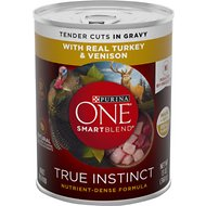 Purina ONE SmartBlend True Instinct Tender Cuts in Gravy with Real Turkey & Venison Canned Dog Food, 13-oz, case of 12