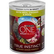 Purina ONE SmartBlend True Instinct Tender Cuts in Gravy with Real Chicken & Duck Canned Dog Food, 13-oz, case of 12