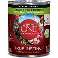 Purina ONE SmartBlend True Instinct Classic Ground with Real Chicken & Duck Canned Dog Food, 13-oz, case of 12