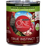 Purina ONE SmartBlend Grain-Free True Instinct Classic Ground with Real Chicken & Duck Canned Dog Food, 13-oz, case of 12