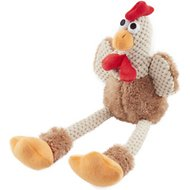 GoDog Checkers Chew Guard Rooster Dog Toy, Brown, Small