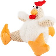 GoDog Checkers Chew Guard Rooster Dog Toy, Small