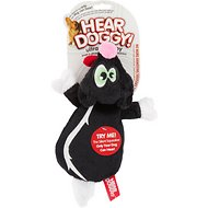 Hear Doggy Silent Squeaker Flattie Skunk Dog Toy