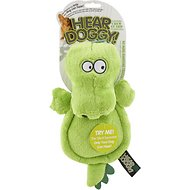 Hear Doggy Silent Squeaker Chew Guard Flattie Gator Dog Toy