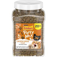 Friskies Party Mix Crunch Chicken Lovers Cat Treats, 20-oz canister