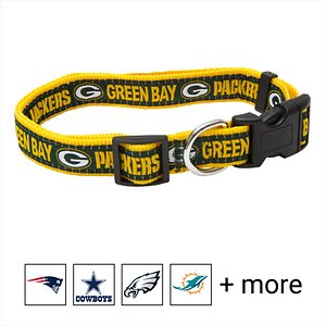 Pets First NFL Nylon Dog Collar, Green Bay Packers, Large: 14 to 24-in neck, 1-in wide; Let your pets show off their team spirit with the Pets First NFL Dog Collar. This stylish NFL dog collar features your favorite team's name and logo sewn on to the collar. The nylon web collar is adjustable and proudly displays your team's colors. It has a snap-lock plastic buckle that makes it easy to put on and take off as well as a silver D-ring to attach a lead.