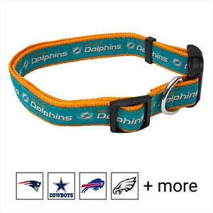 Pets First NFL Nylon Dog Collar, Miami Dolphins, Large: 14 to 24-in neck, 1-in wide; Let your pets show off their team spirit with the Pets First NFL Dog Collar. This stylish NFL dog collar features your favorite team's name and logo sewn on to the collar. The nylon web collar is adjustable and proudly displays your team's colors. It has a snap-lock plastic buckle that makes it easy to put on and take off as well as a silver D-ring to attach a lead.