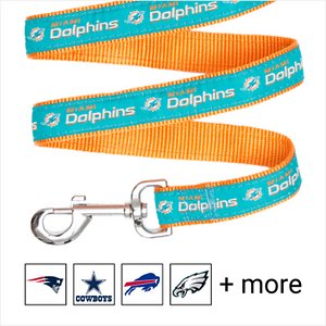Pets First NFL Nylon Dog Leash, Miami Dolphins, Large: 6-ft long, 1-in wide