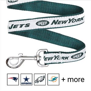 Pets First NFL Dog Leash, New York Jets, Small; Show off your team pride every time you walk your pup with the Pets First NFL Dog Leash. Everyone will know which team you're both rooting for with this stylish lead. This NFL licensed leash features your favorite team's name, logo and colors. It's made from heavy-duty nylon webbing and a durable spring hook for attaching to any collar.