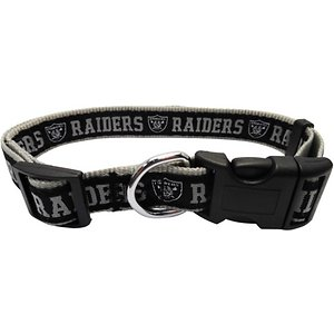 Pets First NFL Nylon Dog Collar, Oakland Raiders, Large: 14 to 24-in neck, 1-in wide; Let your pets show off their team spirit with the Pets First NFL Dog Collar. This stylish NFL dog collar features your favorite team's name and logo sewn on to the collar. The nylon web collar is adjustable and proudly displays your team's colors. It has a snap-lock plastic buckle that makes it easy to put on and take off as well as a silver D-ring to attach a lead.
