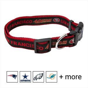 Pets First NFL Nylon Dog Collar, San Francisco 49ers, Medium: 10 to 16-in neck, 5/8-in wide; Let your pets show off their team spirit with the Pets First NFL Dog Collar. This stylish NFL dog collar features your favorite team's name and logo sewn on to the collar. The nylon web collar is adjustable and proudly displays your team's colors. It has a snap-lock plastic buckle that makes it easy to put on and take off as well as a silver D-ring to attach a lead.