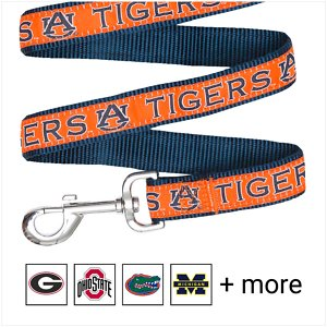 Pets First NCAA Nylon Dog Leash, Auburn Tigers, Small: 4-ft long, 3/8-in wide; Show off your team pride every time you walk your pup with the Pets First NCAA Dog Leash. Everyone will know which team you're both rooting for with this stylish lead. This NCAA licensed leash features your favorite college team's name, logo and colors. It's made from heavy-duty nylon webbing and a durable spring hook for attaching to any collar.
