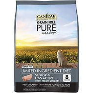 CANIDAE Grain-Free PURE Meadow Senior & Less Active Formula with Fresh Chicken Limited Ingredient Diet Dry Cat Food, 5-lb bag