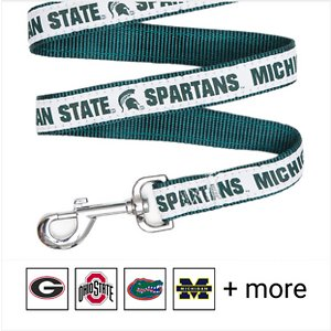Pets First NCAA Nylon Dog Leash, Michigan State Spartans, Small: 4-ft long, 3/8-in wide; Show off your team pride every time you walk your pup with the Pets First NCAA Dog Leash. Everyone will know which team you're both rooting for with this stylish lead. This NCAA licensed leash features your favorite college team's name, logo and colors. It's made from heavy-duty nylon webbing and a durable spring hook for attaching to any collar.