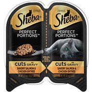 Sheba Perfect Portions Grain-Free Savory Salmon & Chicken Cuts in Gravy Entree Cat Food Trays, 2.6-oz, case of 24 twin-packs