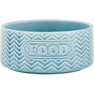 Signature Housewares Embossed Food  Dog & Cat Bowl, Aqua, X-Small