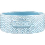 Signature Housewares Embossed Food Dog & Cat Bowl, Aqua, Small