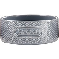 Signature Housewares Embossed Food Dog & Cat Bowl, Gray, Small