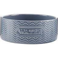 Signature Housewares Embossed Water Dog & Cat Bowl, Gray, Small