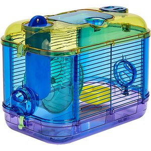 Kaytee CritterTrail Portable Petite Habitat, 13-in; The Kaytee CritterTrail Portable Petite Habitat is a travel-size habitat that makes it easy to transport dwarf hamsters, gerbils and mice. Small pets have everything they need on the go, including an exercise wheel, food dish and drip-resistant water bottle. You can connect this habitat to other CritterTrail habitats to create even more room for your pet to explore. The narrow wire spacing provides extra security for even the smallest critters.